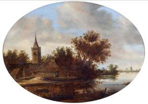 Rivierlandschap met kerktoren en boerderij op de oever