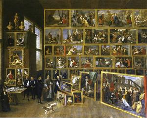 Aartshertog Leopold Wilhelm met Antonius Triest in zijn Brusselse schilderijengalerij
