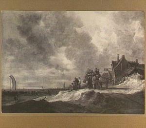 Strandgezicht bij Scheveningen, rechts herberg De Swaen