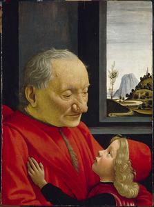 Portret van een grootvader met zijn kleinzoon