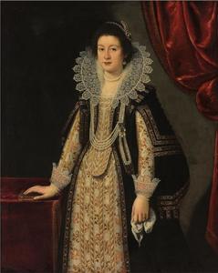 Portret van een vrouw, mogelijk Maria Magdalena van Oostenrijk, echtgenote van Cosimo II de' Medici