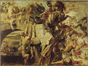 De dood van Maxentius op de Milvische brug (312 n.Chr)