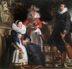 Zelfportret van Jacob Jordaens (1593-1678) met Catharina van Noort (595-1659), Elisabeth Jordaens (1617-....)  en een bediende