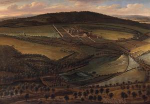Gezicht op Hampton Court Castle (Herefordshire) vanuit het noorden in vogelpespectief gezien