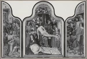 De doornenkroning (binnenzijde links), De kruisafneming (midden), Ecce Homo (binnenzijde rechts); De kruisdraging met de H. Veronica (buitenzijde links), Portret van Aelbrecht Adriaensz. van Adrichem (...-1555) met de HH. Catharina en Bavo (buitenzijde rechts)