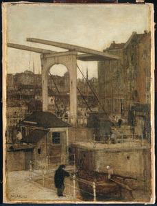 De Nieuwe Haarlemse Sluis bij het Singel, genaamd 'Souvenir d'Amsterdam'