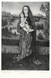 Maria met kind staand in een landschap