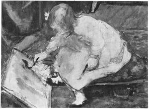De oudste dochter van de schilder in het atelier in de Sumatrastraat te Den Haag