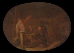 Drinkende boeren in een schuur