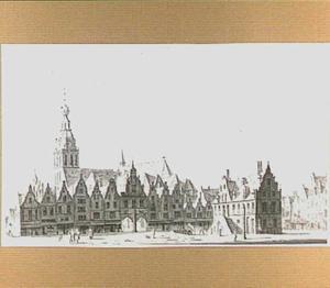 De Grote Markt te Nijmegen met links de Grote of Sint-Stevenskerk en rechts de Waag