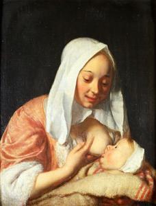 Vrouw die een kind de borst geeft