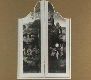 Landschap met de prediking van Johannes de Doper (links) en de doop van Christus in de Jordaan (rechts)