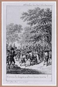 Toneelscène: juichende en elkaar omarmende vrouwen en soldaten