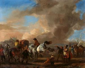 Paarden en ruiters in een landschap met tenten