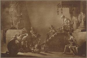 De koningin van Seba brengt Salomo geschenken  (1 Koningen 10:1-2)