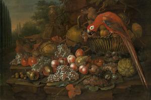 Een vruchtenstilleven met papegaai