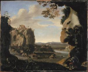 Landschap met Orfeus bij de ingang van de onderwereld