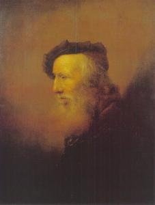 Tronie van een oude man met baard en baret