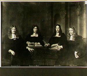 Regenten Anthoine Warin (1619-1691), Jeremie van Raeij (1630-1705), Jean du Roij (1620-1671) en Paul Godin (1615-1690) van het Walenweeshuis te Amsterdam, 1670