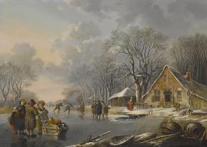 Winterlandschap met schaatsers op een rivier bij een boerderij