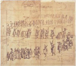 Allegorische optocht met figuren met ezelsoren