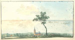 Landschap met een gezicht op het dorp Hees