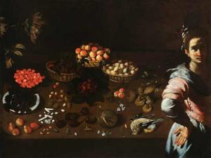 Tafel met stilleven en een vrouwelijke figuur