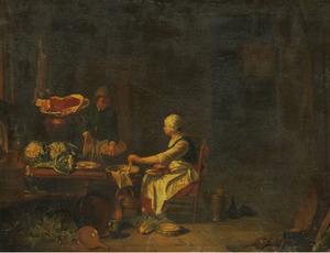 Keukenmeid en jongen in een keuken