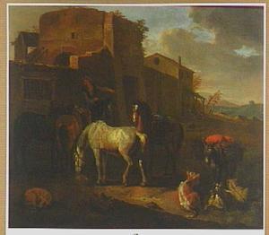Zuidelijk landschap met rustende paarden en andere dieren bij een gebouw