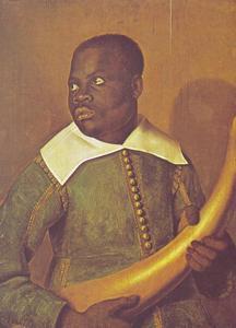 Portret van een Congolees in Europese dracht met olifantstand in de handen, vermoedelijk een bediende van Dom Miguel de Castro