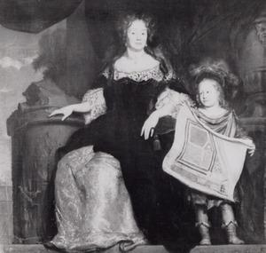 Dubbelportret van Magdalena Poulle (1626-1699) en Pieter Poulle (1677-1684) met een plattegrond van de buitenplaats Gunterstein