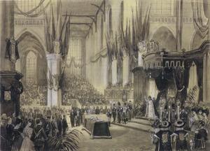 De inhuldiging van koningin Wilhelmina op 6 september 1898 in de Nieuwe Kerk te Amsterdam