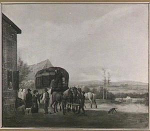 Heuvellandschap met postwagen