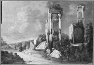 Zuidelijk landschap met antieke grafmonumenten