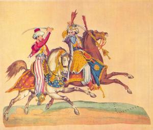 Blauwbaard en Salima in een ruitergevecht, uit George Colman's toneelstuk 'Blue Beard: or, Female Curiosity'