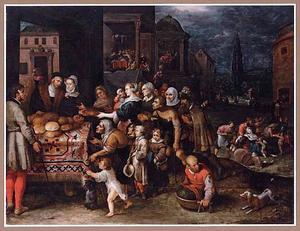 De zeven werken van barmhartigheid tegen de achtergrond van Antwerpen
