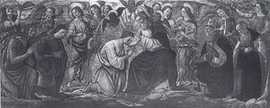De kroning van Maria met de HH. Michael, Johannes de Doper, Augustinus en Antonius Abt, en engelen