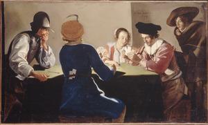 Een interieur met kaartende mannen en soldaten die valsspelen
