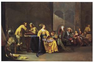 Wachtlokaal met spelende en drinkende soldaten en vrouwen