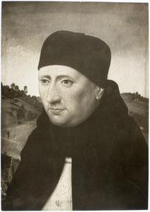Portret van een mannelijke geestelijke voor een landschap