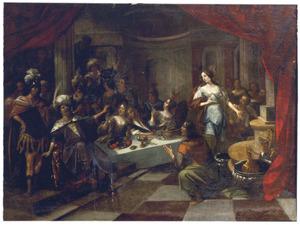 Daniel interpreteert wat de hand op de muur geschreven heeft tijdens het feestmaal van Belsassar (Daniël 5)