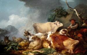 Landschap met dieren en herder