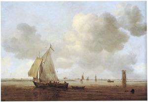 Riviergezicht met zeilschepen en de Batsentoren nabij Goes