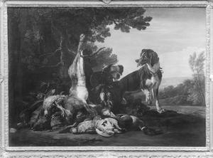 Jachtstilleven met twee honden