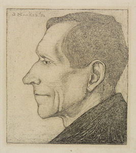 Vader Mankes, in profiel naar links