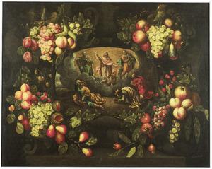 Vruchten op een stenen cartouche, met een medaillon dat de opstanding van Christus weergeeft