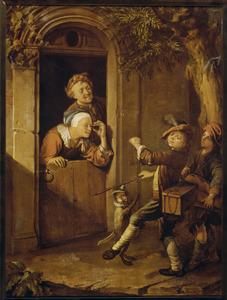 Twee Savoyaards met toehoorders in een deuropening