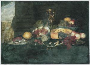 Stilleven met een ham, pastei en vruchten