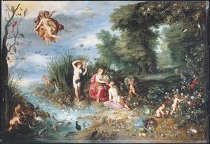 Landschap met een allegorie op de vier elementen