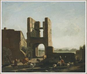 Landschap met de ruïne van de voorpoort van kasteel Brederode, gezien vanuit het westen